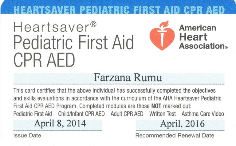 Pediatric First Aid Cpr Aed Certification