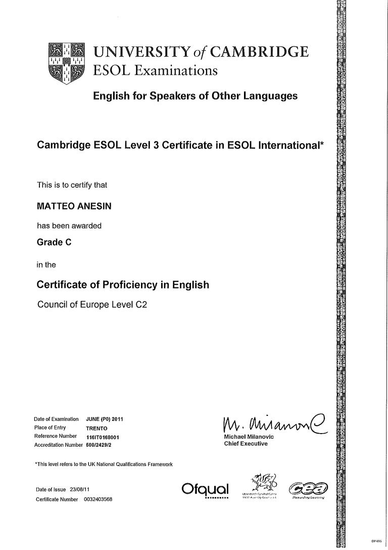University Of Cambridge Certificate Of Proficiency In English
