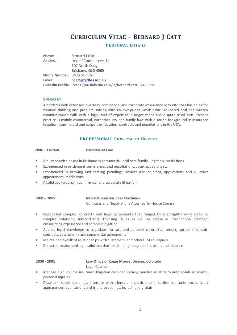 Bernard Catt- Resume