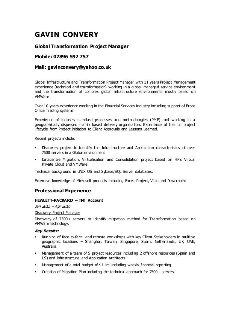 gavin convery global transformation project manager contract cv