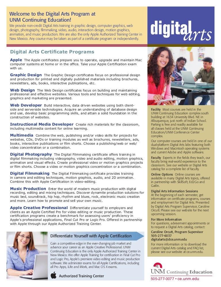 2013 Digital Arts Certificate Programs