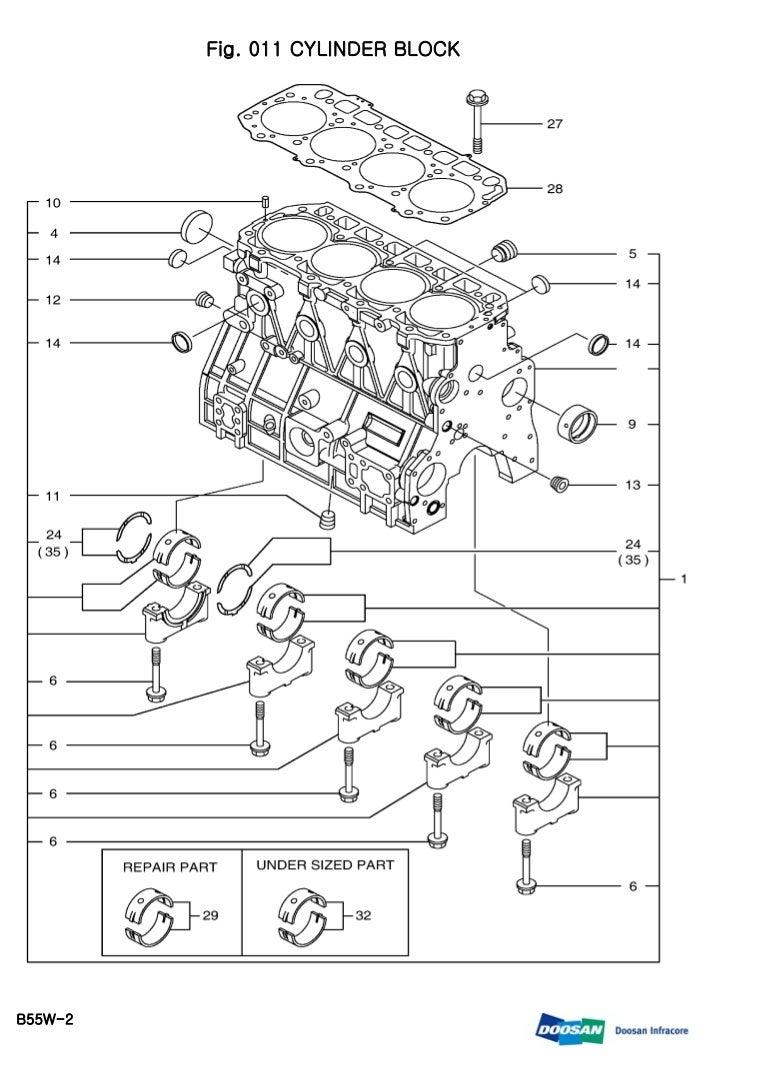 Daewoo doosan b55 w 2 wheeled excavator service repair manual