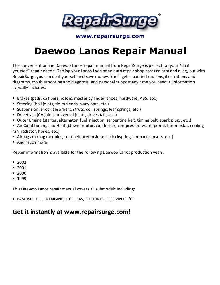2001 daewoo lanos engine diagram daewoo lanos repair manual 1999 2002  daewoo lanos repair manual 1999 2002