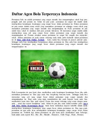 Daftar agen bola terpercaya indonesia