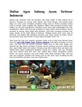 Daftar agen sabung ayam terbesar indonesia