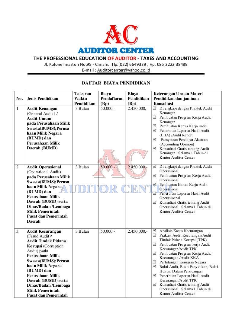Daftar Biaya Pendidikan Auditor Center Copy
