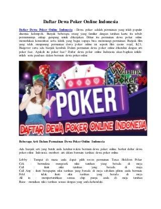 Daftar Dewa Poker Online Indonesia - Warungpoker99
