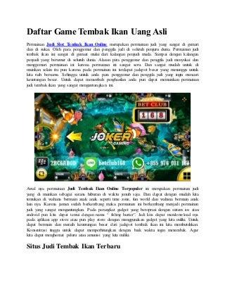 Daftar game tembak ikan uang asli