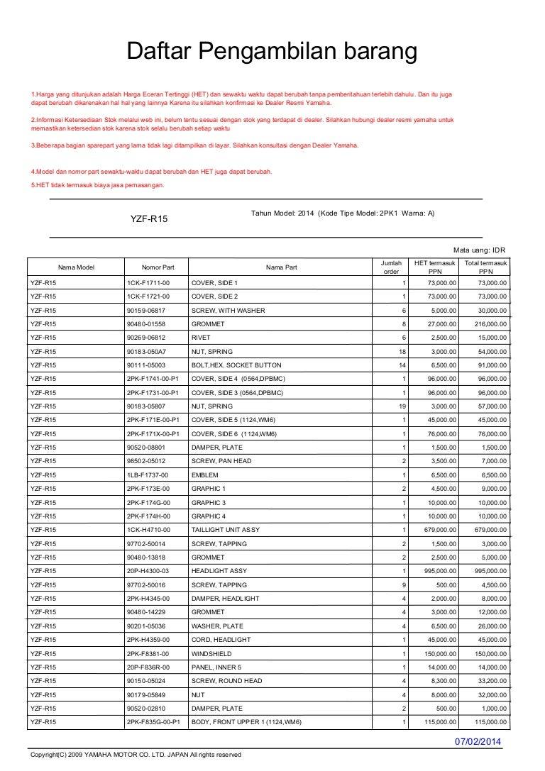 Daftar harga fairing set yamaha r15 indonesia