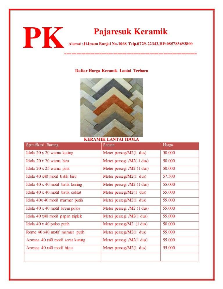 Daftar harga  keramik  lantai  terbaru