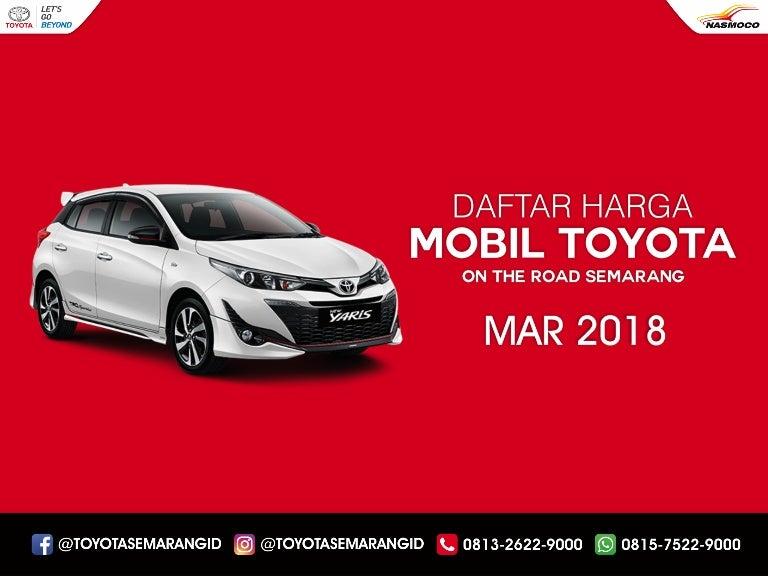 Daftar Harga Mobil Toyota Semarang Dealer Nasmoco