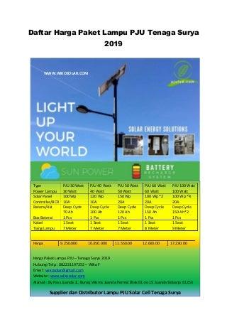 Daftar harga paket lampu pju tenaga surya jombang tahun 2019 Telp 082231197352