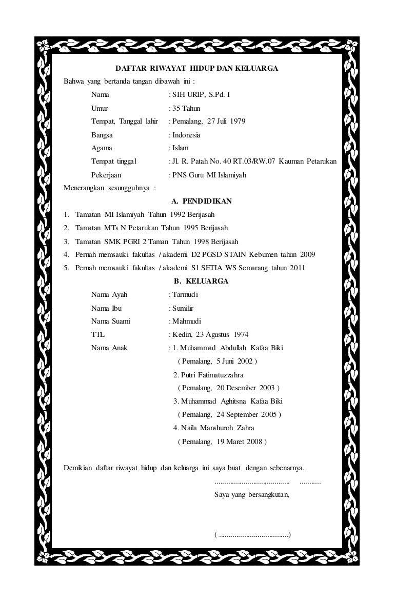 Daftar riwayat hidup dan keluarga