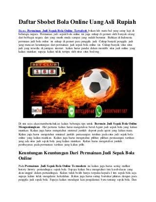 Daftar sbobet bola online uang asli rupiah