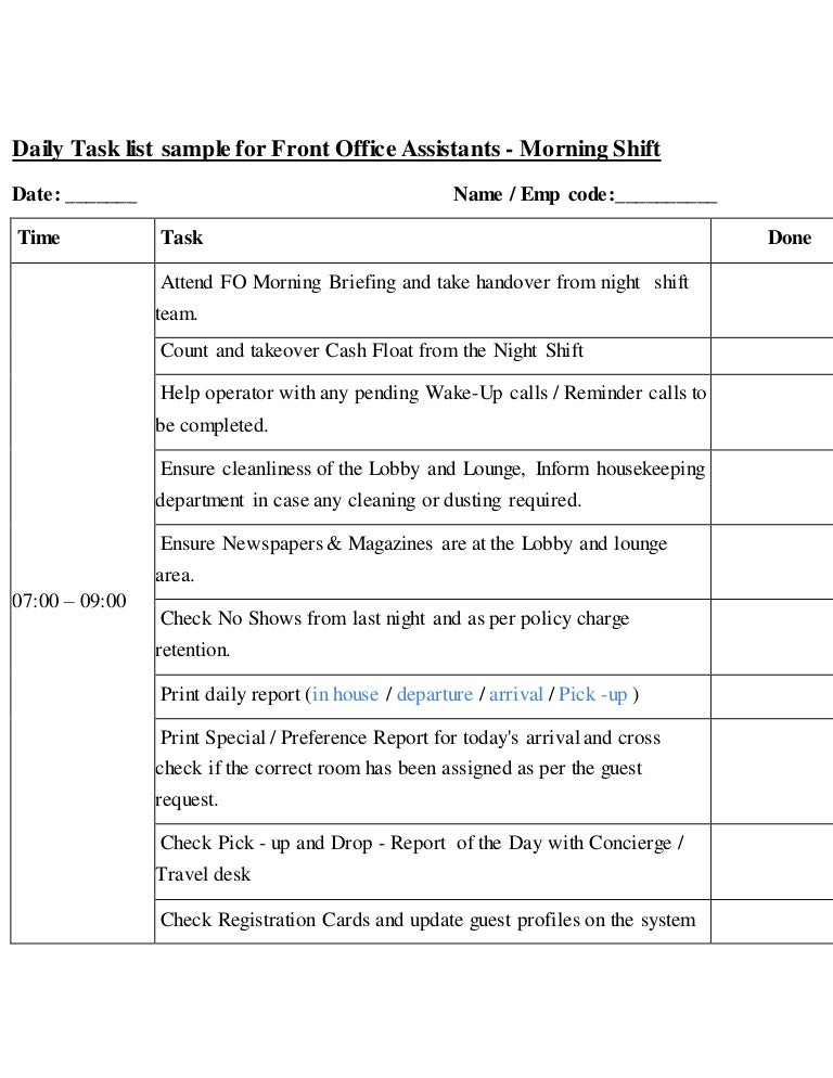 Daily task list sample for front office assistants