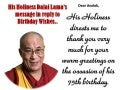 His Holiness Dalai Lama replies...