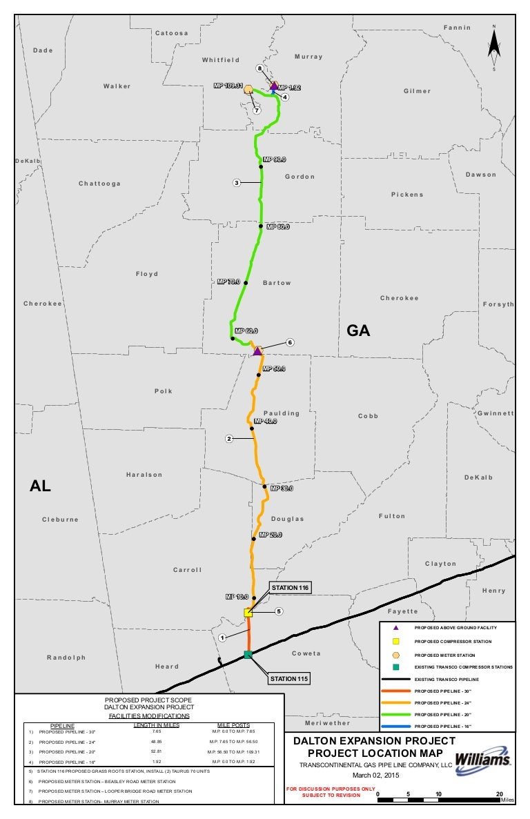 Williams Transco Dalton Expansion Project Map - Georgia map project