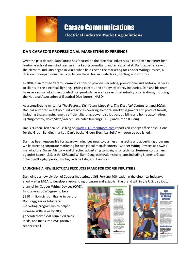 dan carazos electrical industry marketing experience rh slideshare net