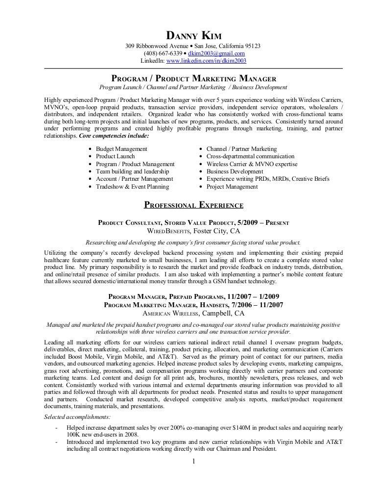 Resume ProgramProduct Marketing Manager Retail Marketing
