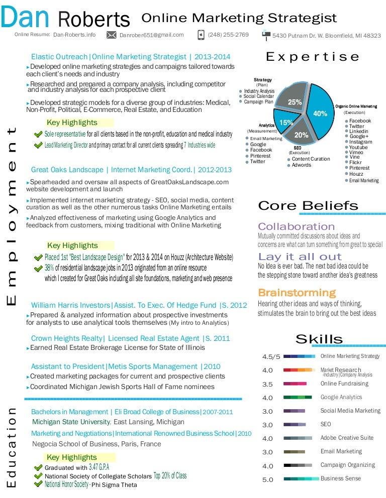 dan roberts resume online marketing strategist 2014 - Digital Strategist Resume