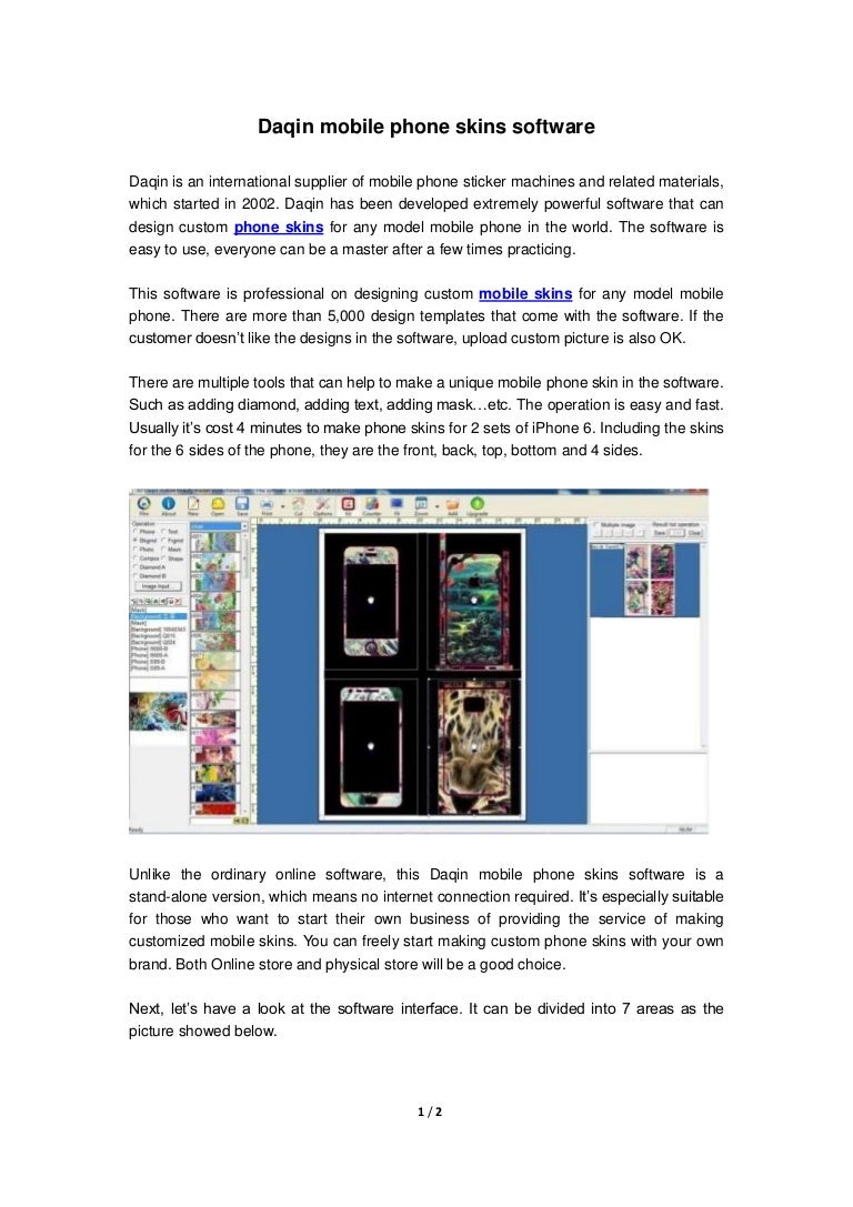 Daqin Mobile Phone Skins Software For Any Model Mobile Phone