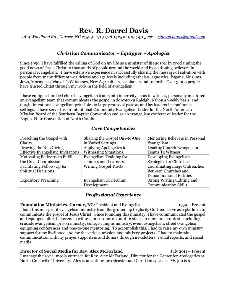 Minister Resume Example Free Sample Cover