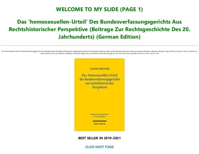 Free Download PDF>* Das 'homosexuellen-Urteil' Des Bundesverfassungsgerichts Aus Rechtshistorischer Perspektive (Beitrage Zur Rechtsgeschichte Des 20. Jahrhunderts) (German Edition) ![Full]