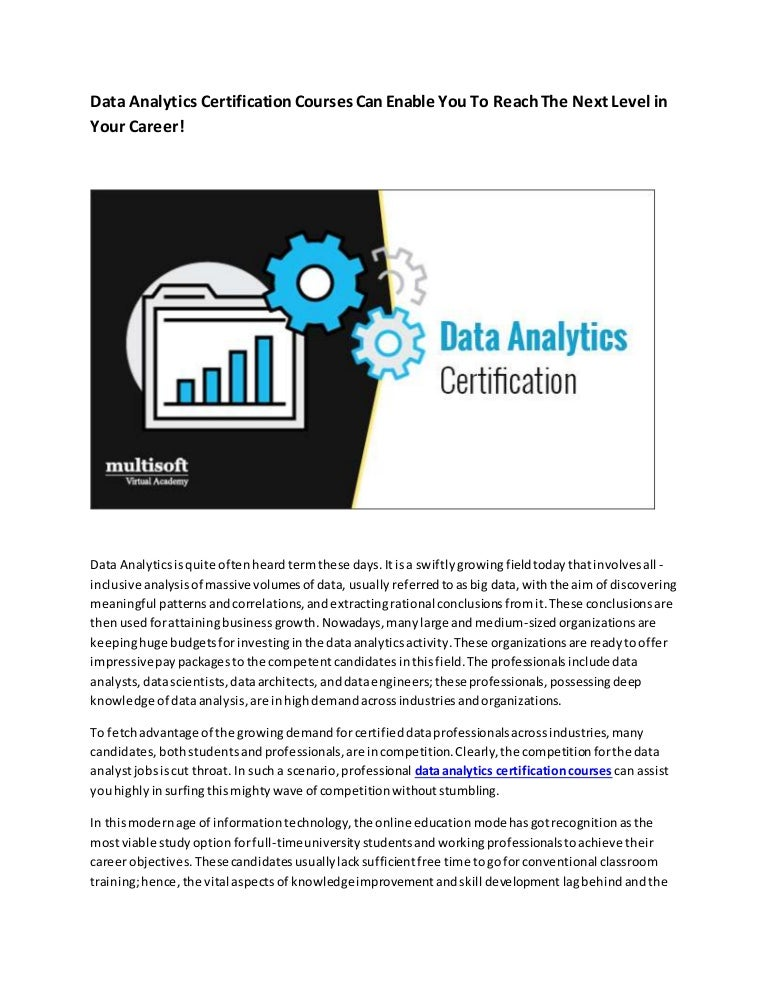 analytics certification reach enable courses career level