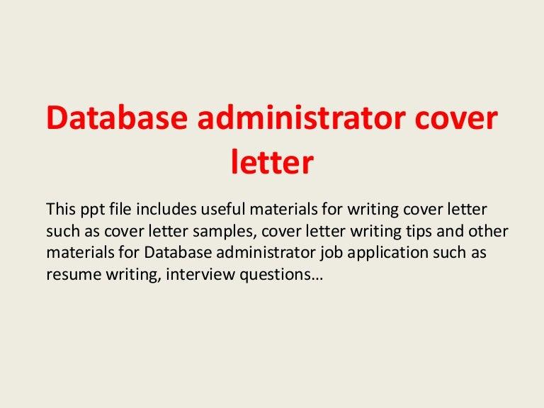 database administrator cover letter database administrator cover letter