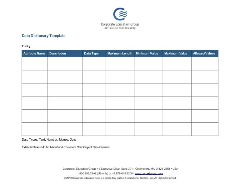 Data Dictionary Template