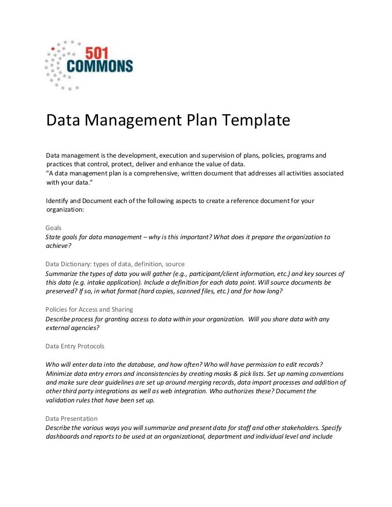 Data management plan template pronofoot35fo Gallery