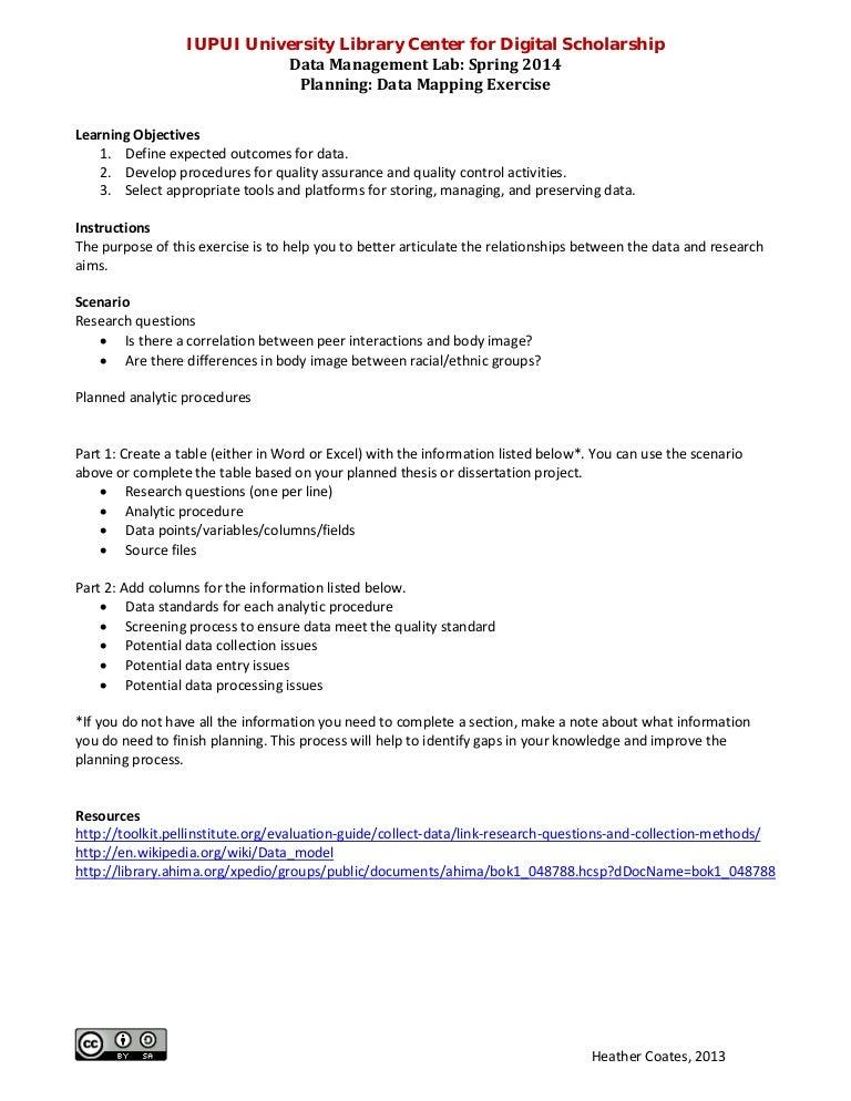 Data Management Lab Data Mapping Exercise Instructions