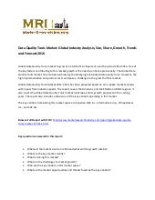 Market Research Report On: Data Quality Tools Market 2012-2016: Now at Market-Research-Industry.com