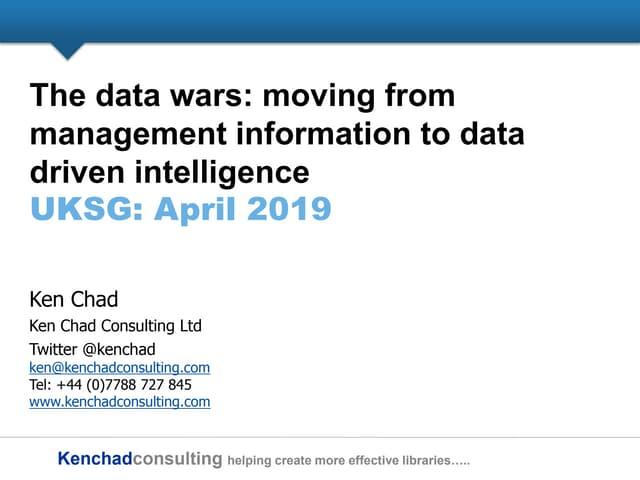 Data wars - management information to data driven intelligence