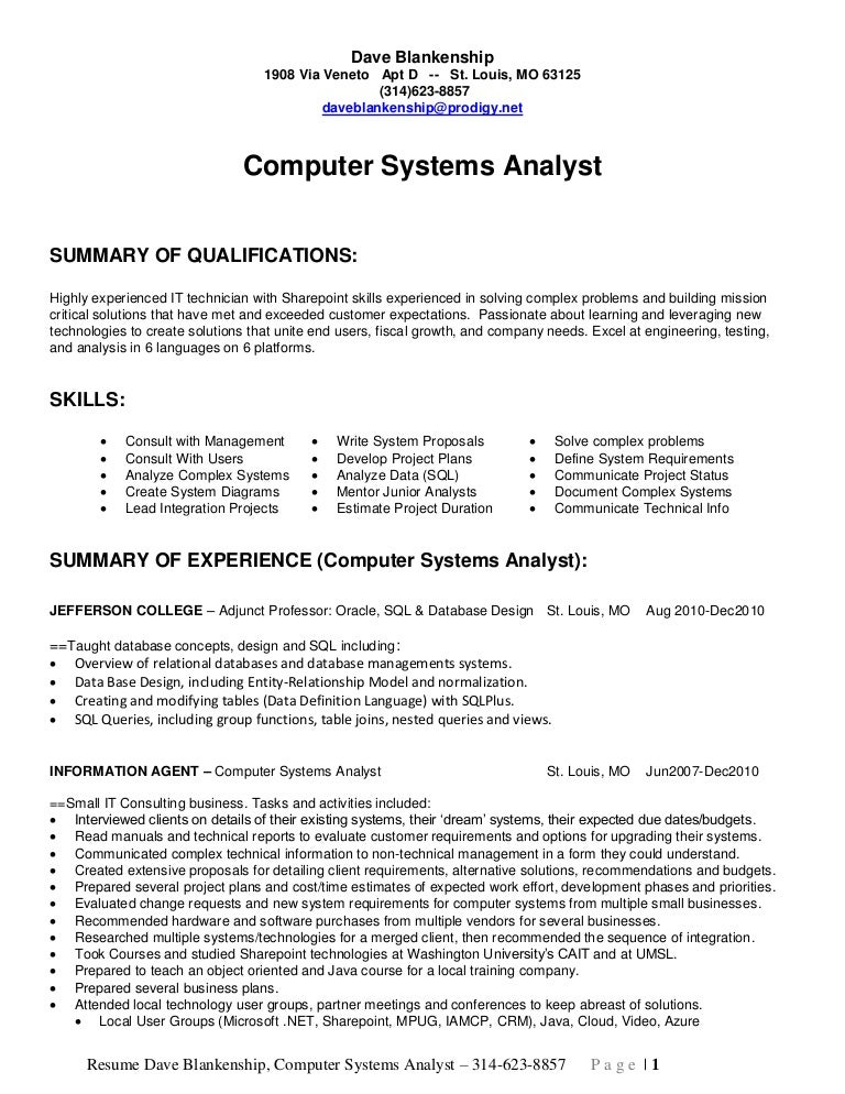 computer systems analyst resumes - Roho.4senses.co