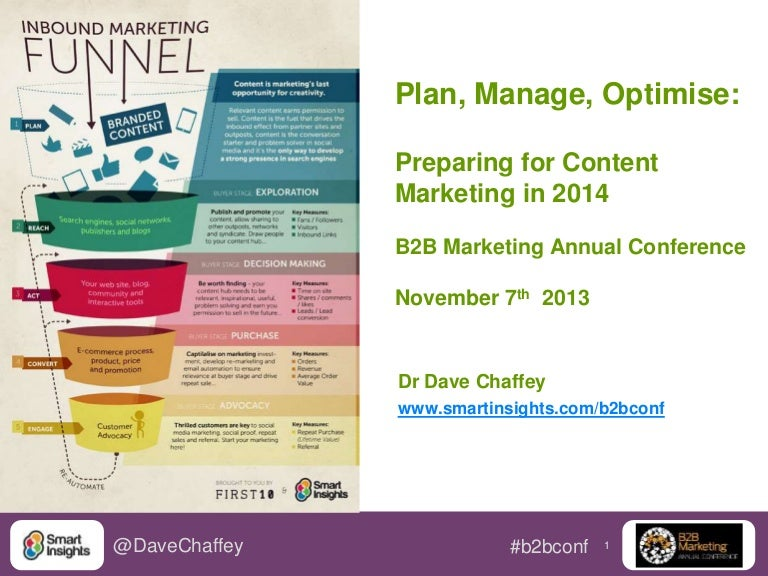 Dave Chaffey: Preparing For Content Marketing 2014: Plan, Manage And …