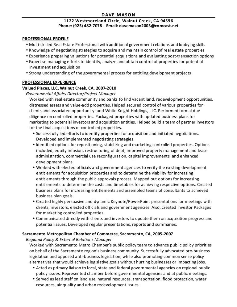 dave mason resume real estate 6 19 11 - Real Estate Manager Resume