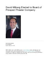 David Milberg elected to board of prospect theater company