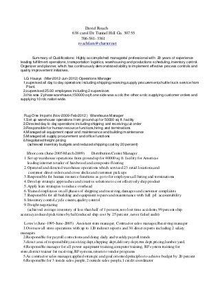 Distribution manager resume