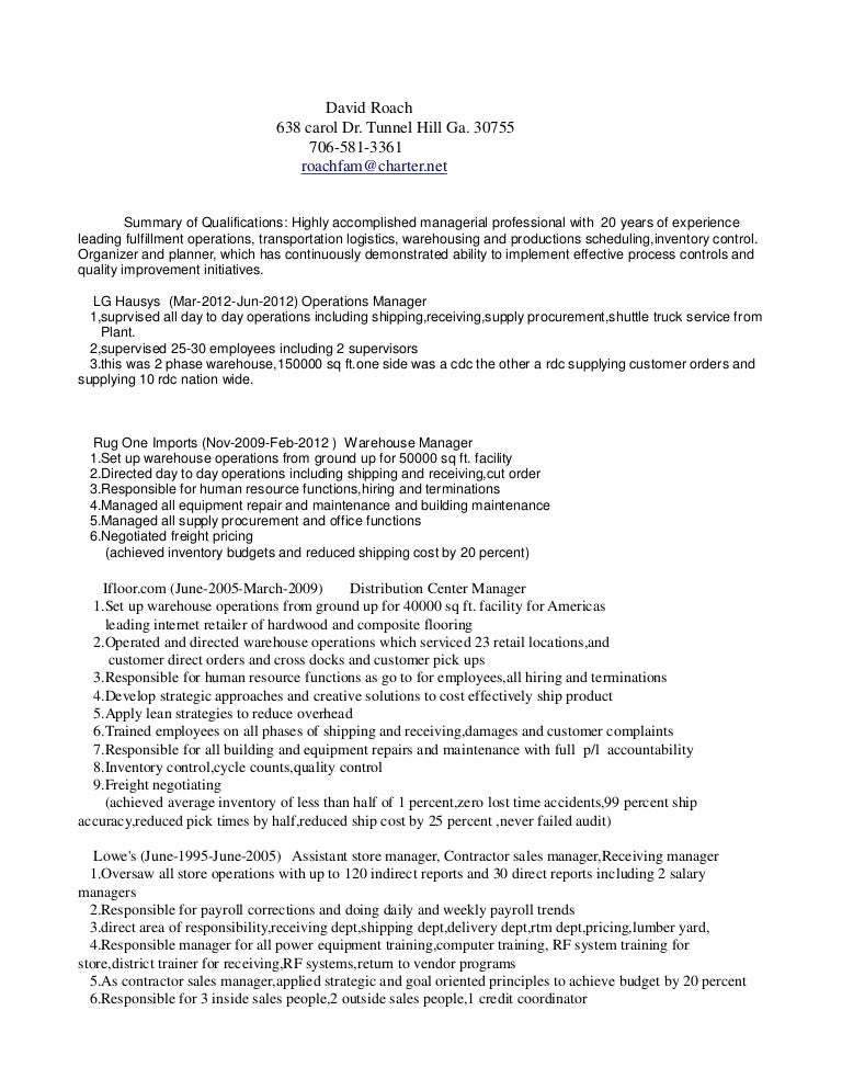 warehouse operations manager resume - Akba.greenw.co