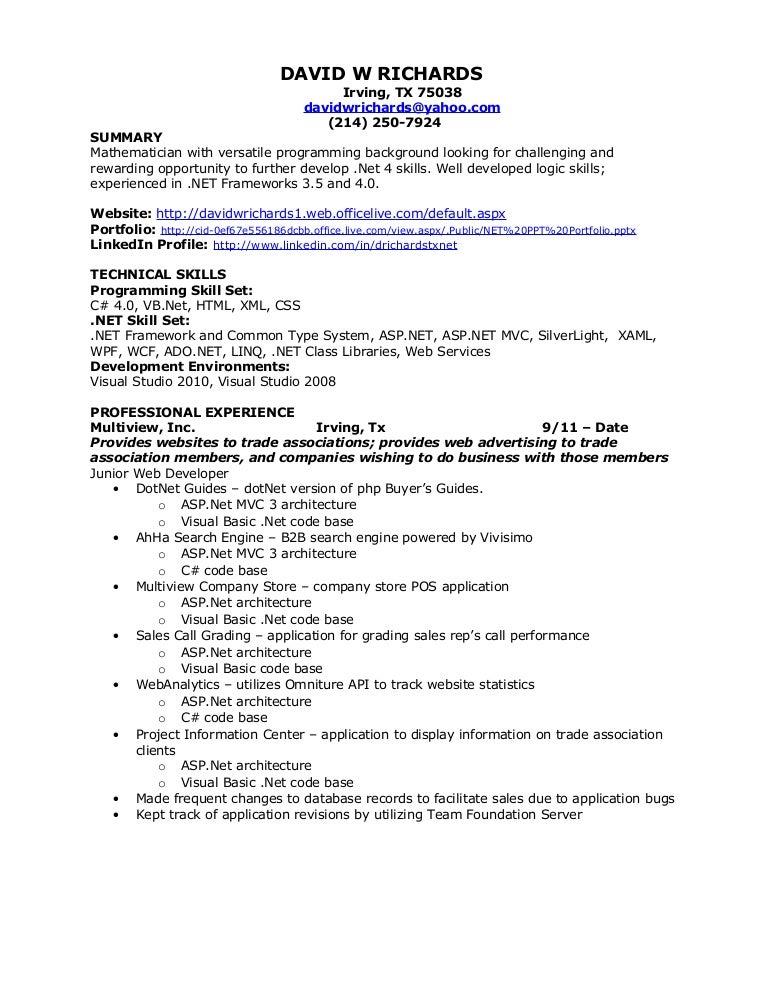 david w richards net resume - Asp Resume Sample