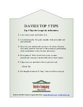 Davies Top 5 Tips - 5 Tips for Longevity in Business