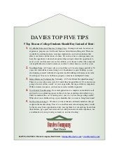 Davies Top 5 Tips  5 Top Reasons College Students Should Buy Instead of Rent