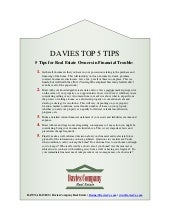 Davies top 5 tips  for real estate owners in financial trouble