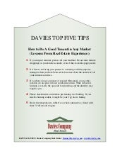 Davies Top 5 Tips: How to be a Good Tenant In Any Market