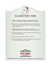 Davies Top 5 Tips For How to Stage Santa's House For Sale