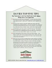 Davies Top 5 Tips- Questions for Your Real Estate Lender
