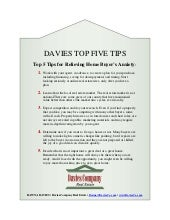Davies Top 5 Tips: Relieving Home Buyers Anxiety