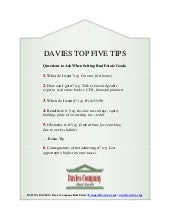 Davies Top 5 Tips: Real Estate Goal Setting