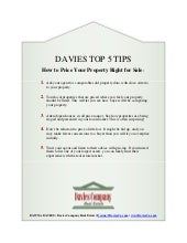 Davies Top 5 Tips  How To Price Your Property Right For Sale